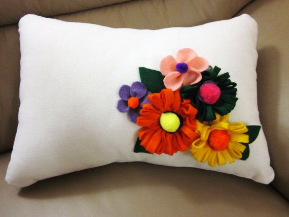 Accent Cushion with Felt Flowers by SuraiyasCreations on Etsy, $35.00