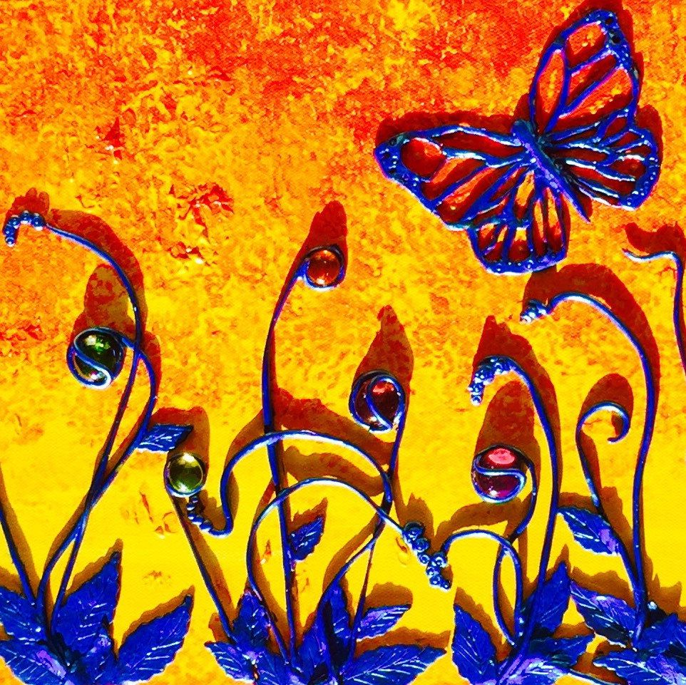 Sunset, wall art, polymer clay on canvas, acrylics, glass, 36x12 ...