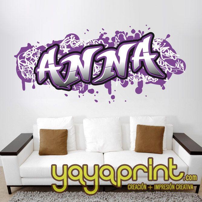 Graffiti nombre decoraci n habitaci n cuarto dormitorio for Vinilos infantiles con nombre baratos