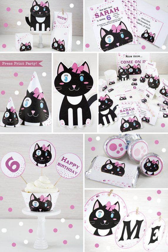 Kitten Party Printables Cat Decorations Birthday Kitty Invitation Black And White