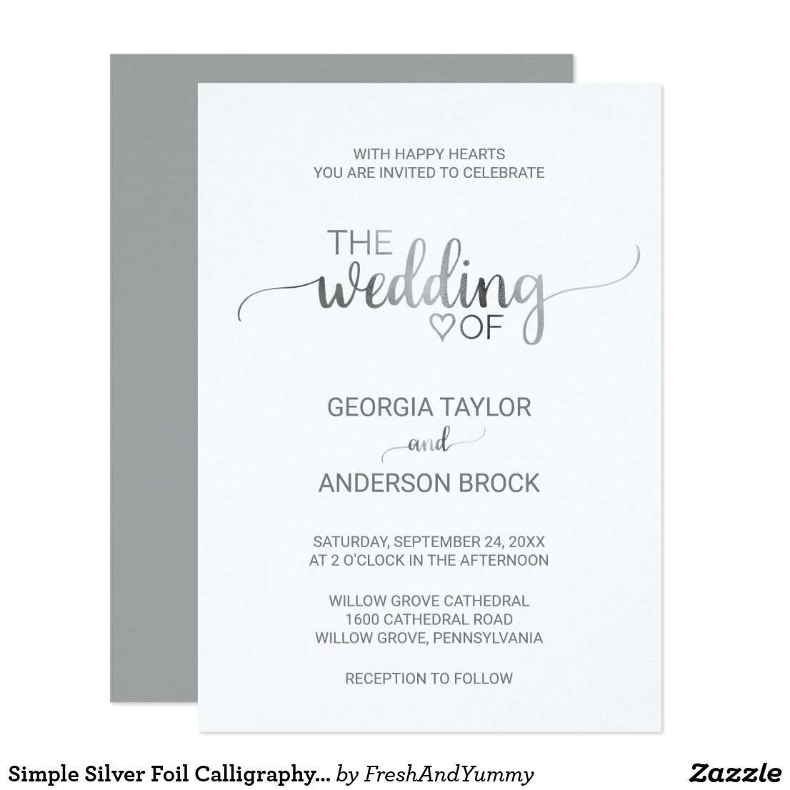 Simple Silver Foil Calligraphy Wedding Invitation Zazzle Com