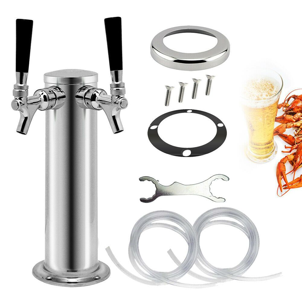 Double 2 Tap Stainless Draft Beer Tower Kegerator Stainless Faucet Homebrew US