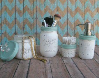Nautical Beach Cottage Chic Mason Jar Bathroom Set In Warm White And Sea Gl Painted Distressed Shabby Home Decor