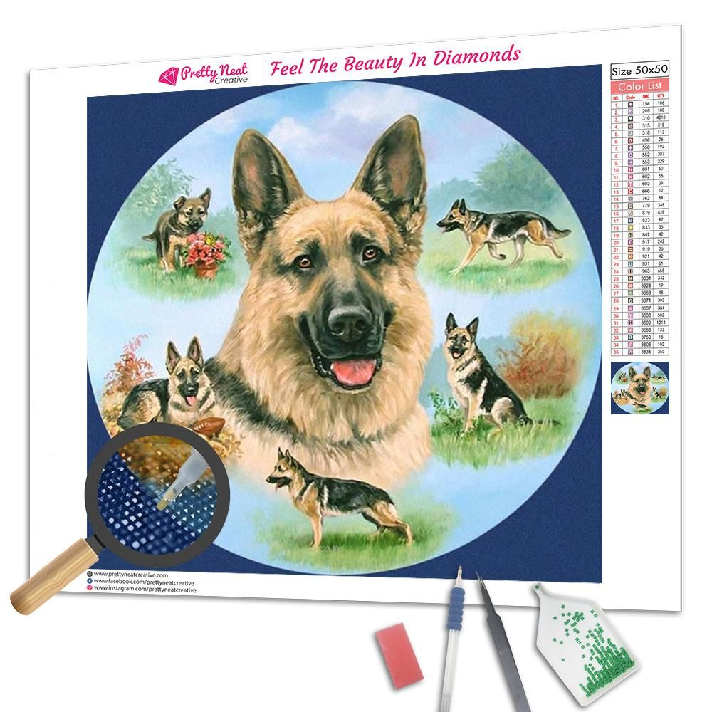 Life German Shepherd Diamond Painting Painting German Painting Tools