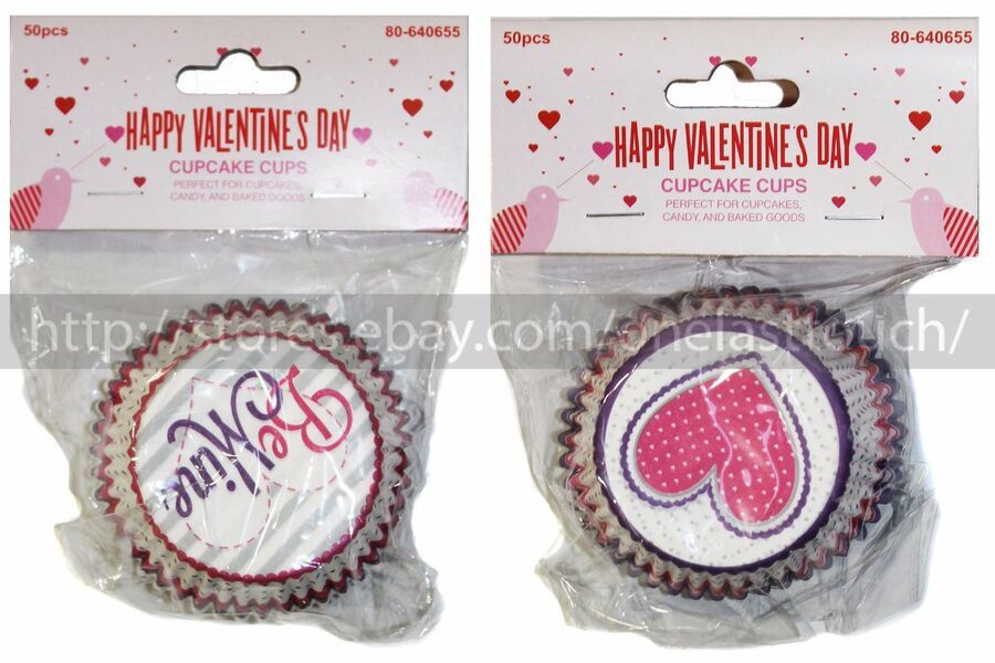 MB* 50pc Set CUPCAKE CUPS Party Supplies VALENTINES DAY 2.5