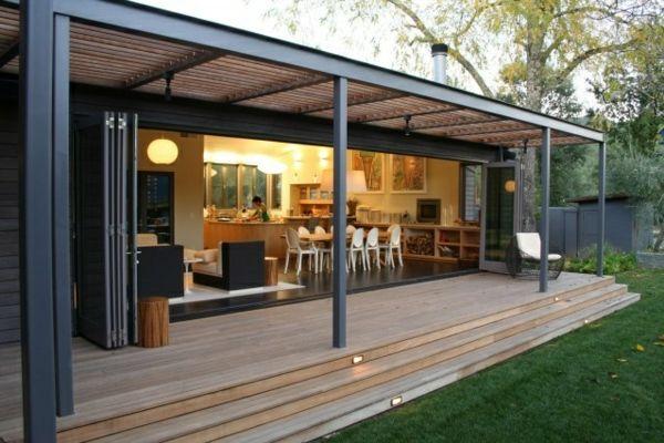 Pergola Aus Metall U2013 40 Inspirierende Beispiele Und Ideen   Pergola Metall  Holz Konstruktion Terassenüberdachung Veranda