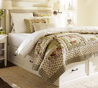 1749 499 Headboard Stratton Storage Platform Bed With Drawers Potterybarn Covered