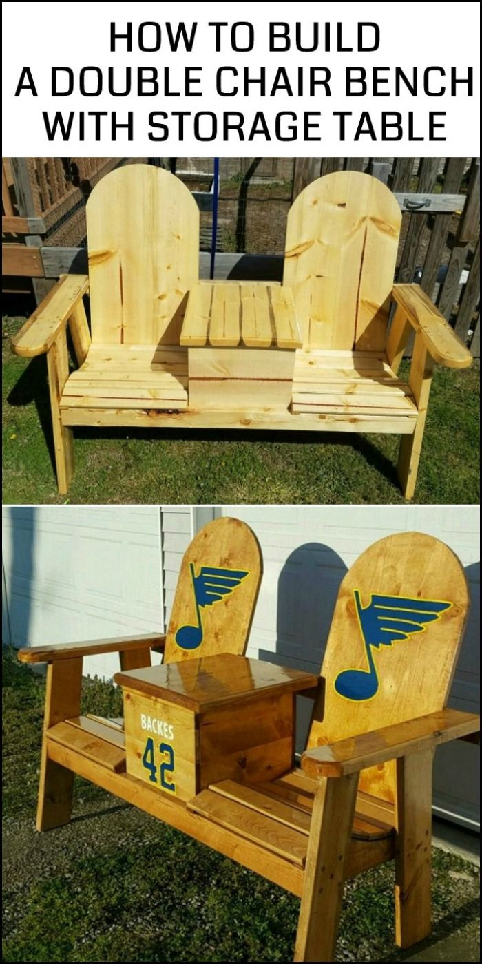 Enjoy Your Outdoor Space By Building This Double Chair Bench With Table Storage Chair Chair Bench Bench With Storage