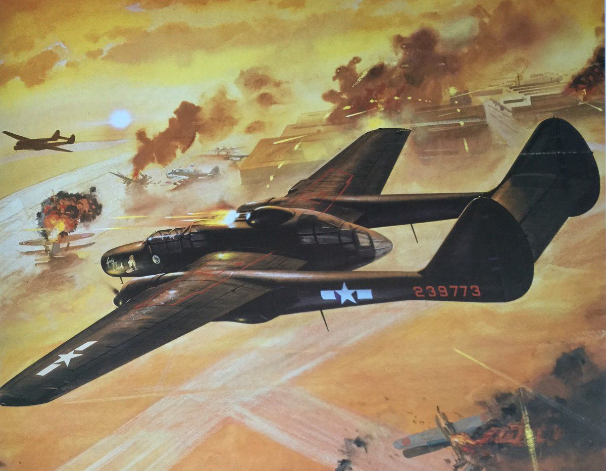 Обои p-61, ww2, black widow, painting, истребитель, P-61 black widow, aircraft art. Авиация foto 16