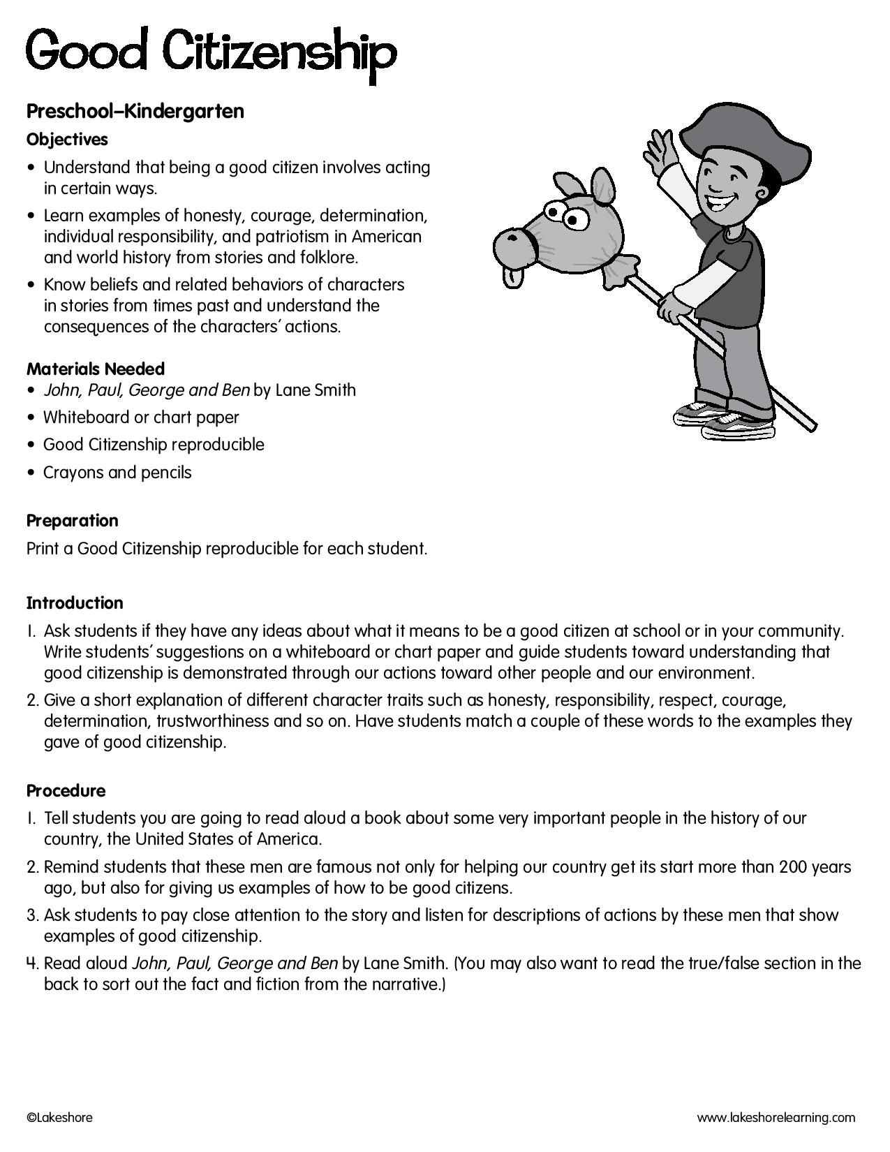Good Citizenship Lessonplan Lesson Plans Free Lesson