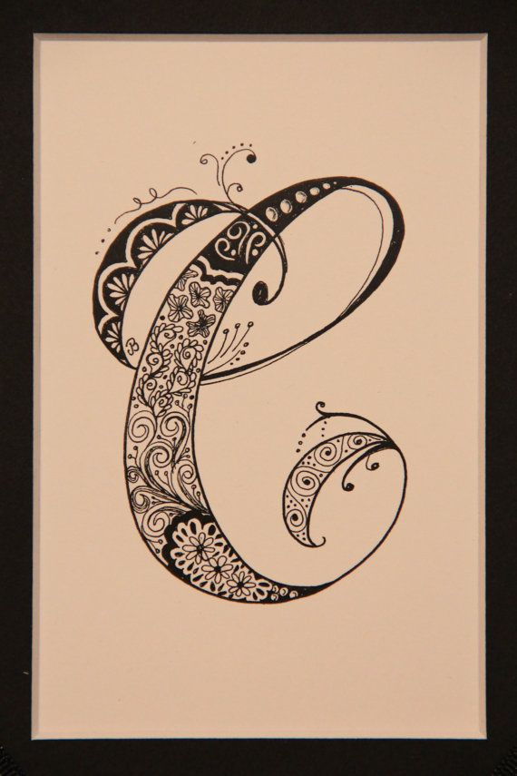 zentangle inspired drawing of the letter c by creativeartbyjudy tattoos pinterest initials. Black Bedroom Furniture Sets. Home Design Ideas