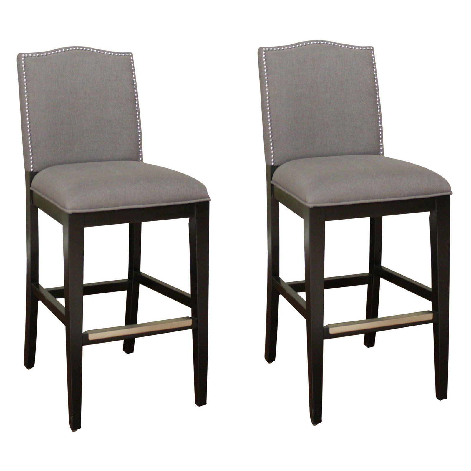 Ahb Chase Tall Bar Stool Black With Smoke Linen Upholstery Set Of 2 739 9 Hayneedle