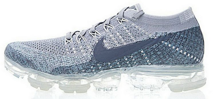 new style d7ca8 70cc7 Nike Air Vapormax Flyknit Dark Grey Wolf Grey Light Blue 849558008 Sneaker  Ties Shoe Grey Light