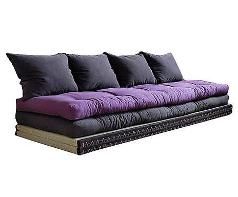 Canape Tatami Pin Et Coton Gris Et Violet L200 Futon Sofa Sofa Futon Mattress