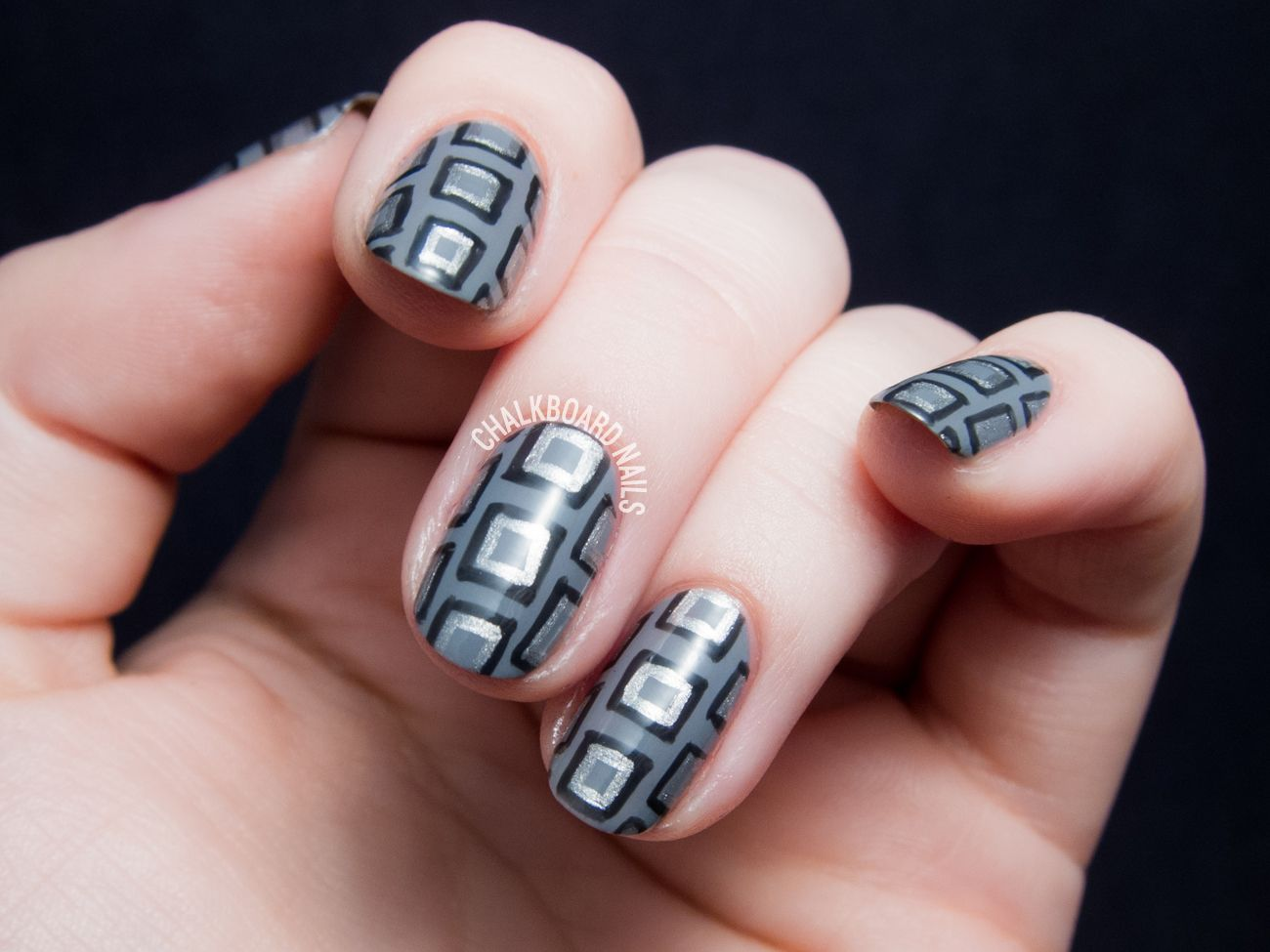 Embrace the Grey with This Geometric Necktie Patterned Nail Art ...
