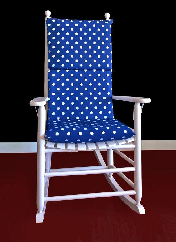 Rocking Chair Cushion Cover Navy Blue White Polka Dot By RockinCushions