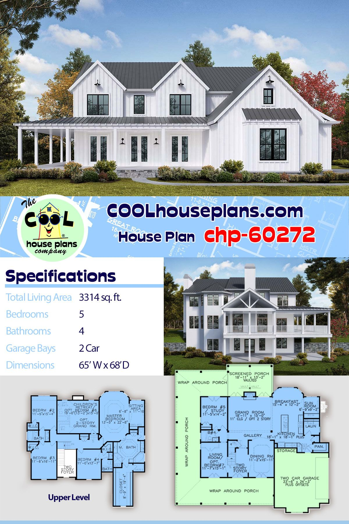 Beautiful Southern Farmhouse Plan Chp 60272 With Five Beds Four Full Baths And A Walk Out Basement In 2020 Farmhouse Style House Plans Farmhouse Plans House Plans