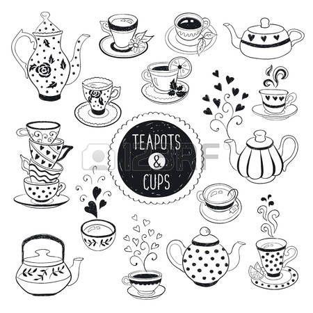 taza de cafe dibujo: Mano tetera dibujado y recogida taza. Tazas de ...