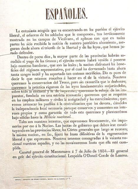 Comentario de Texto. El Manifiesto del Manzanares