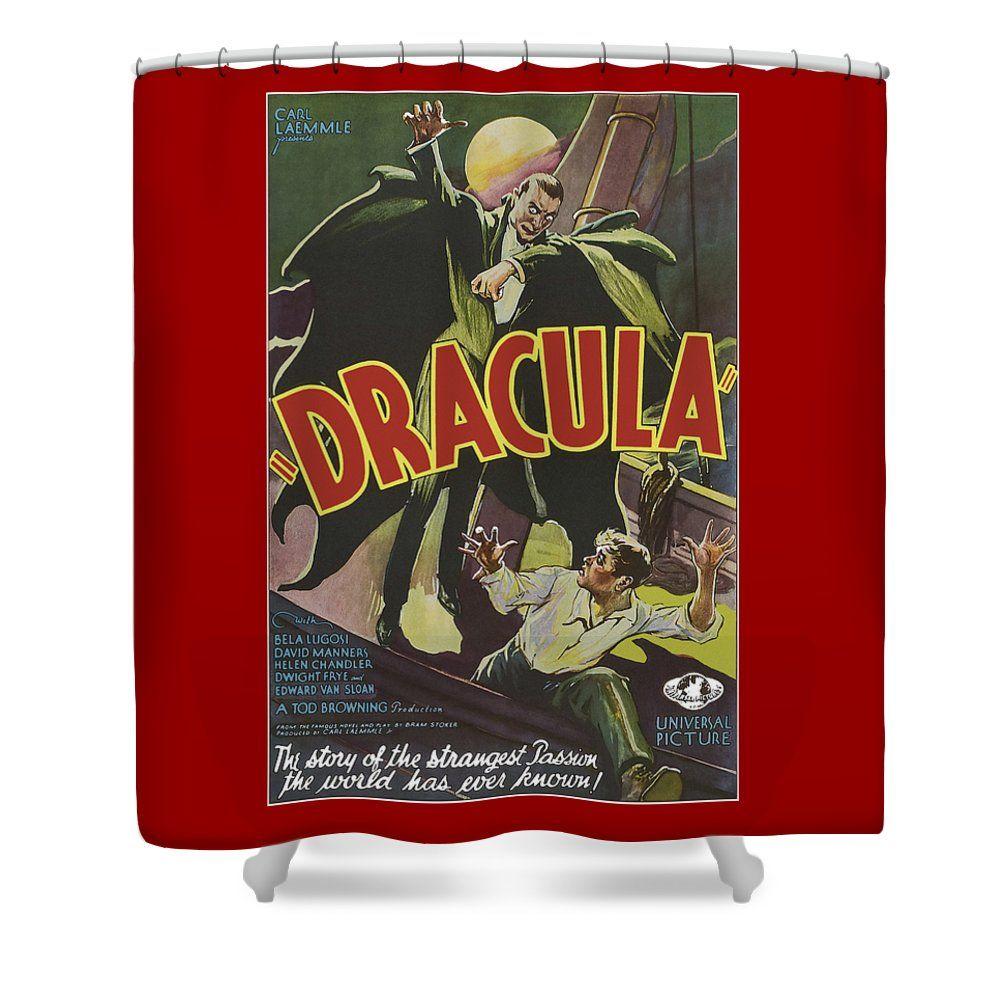 Vintage Dracula Movie Poster Shower Curtain By Joy McKenzie On Pixels Interiordesign