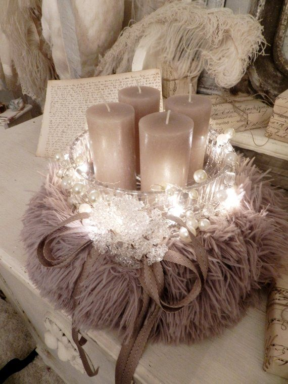 Romantic Advent wreath/arrangement, shabby chic, French country house style, Brocante, Vintage decoration, JDL, wreaths, floristry #countryhousedecor