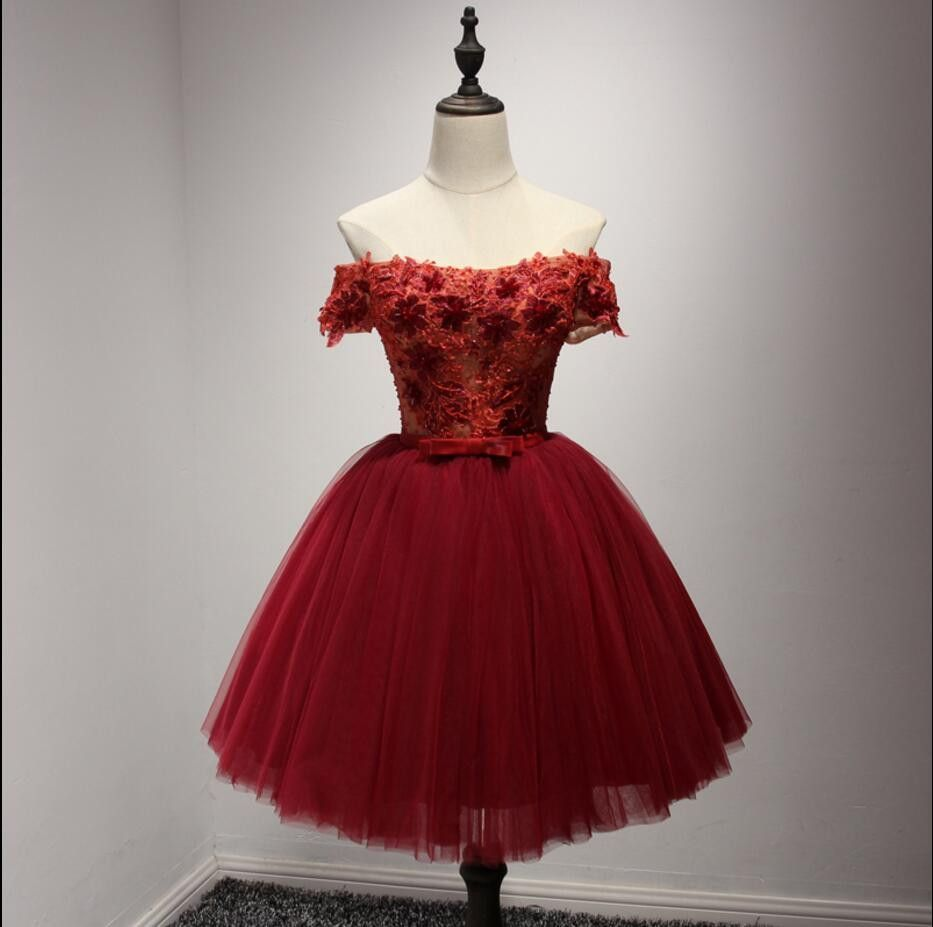 Off shoulder short sleeve red lace homecoming prom dresses