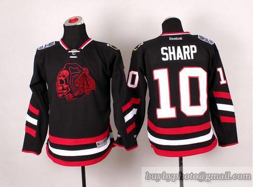 ... switzerland youth nhl chicago blackhawks 10 patrick sharp black skulls  jersey 15 994a7 79b9f 095c36f68