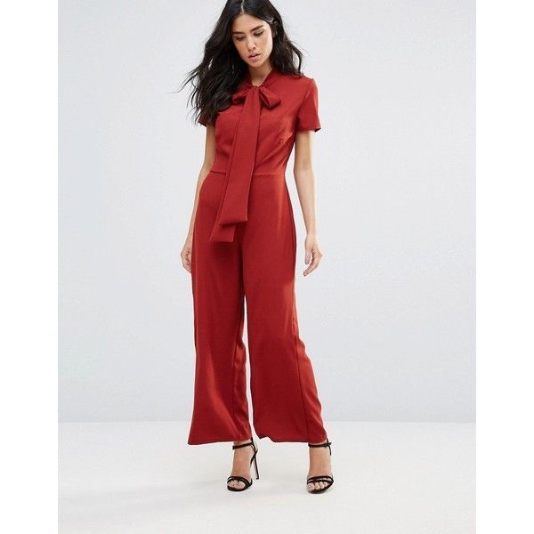Oh My Love Wide Leg Jumpsuit With Neck Tie ($53) ❤ liked on Polyvore featuring jumpsuits, red, neck-tie, red necktie, tie neck tie, tall jumpsuit and red wide leg jumpsuit
