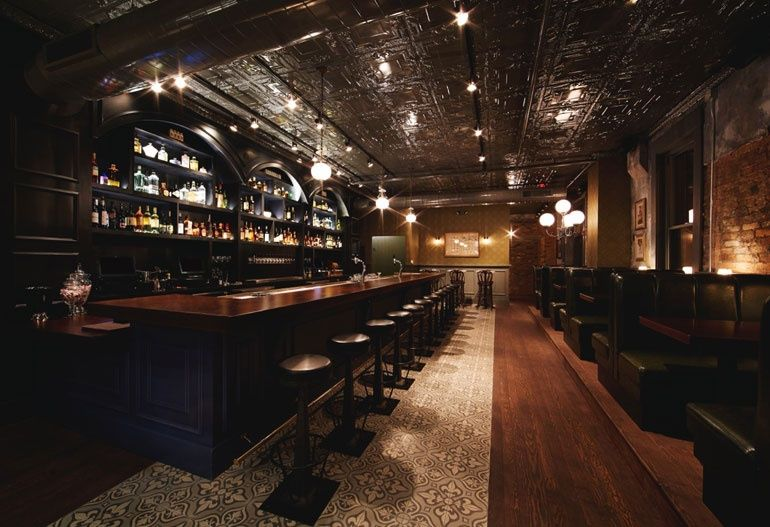 These Lights Set The Tone For This Gorgeous Up Scale Bar Via Interior