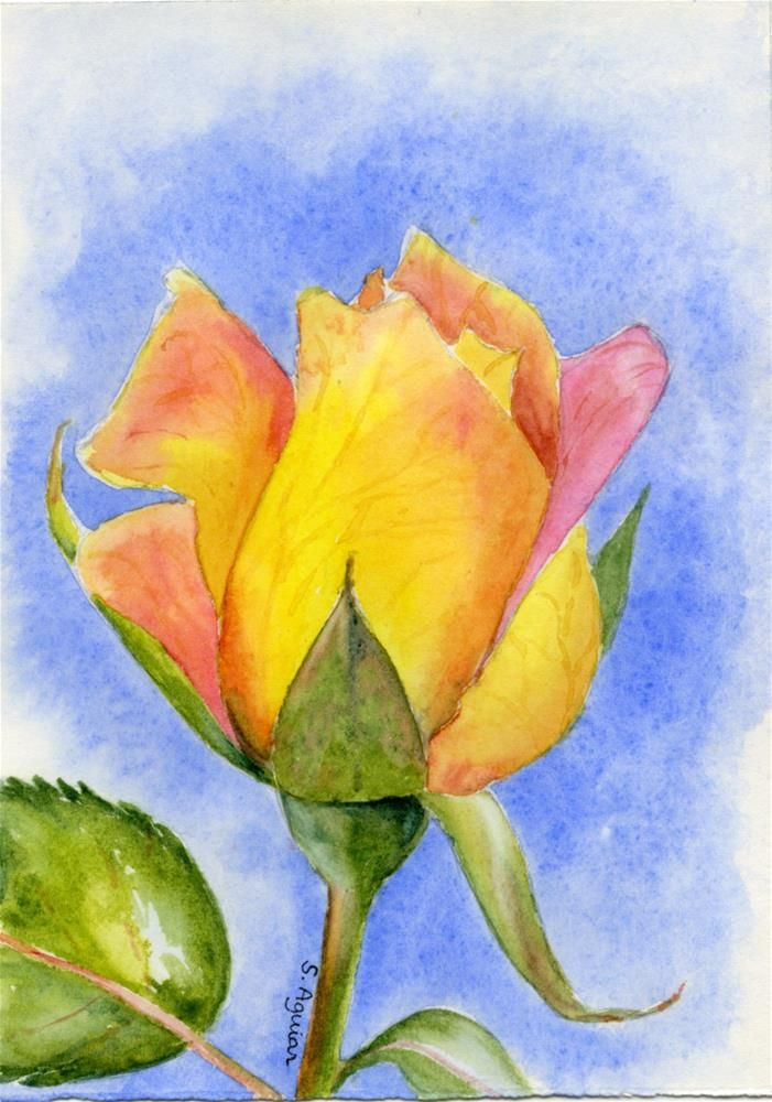 Sonia Aguiar WATERCOLOR Single RoseSingle FlowersWatercolor