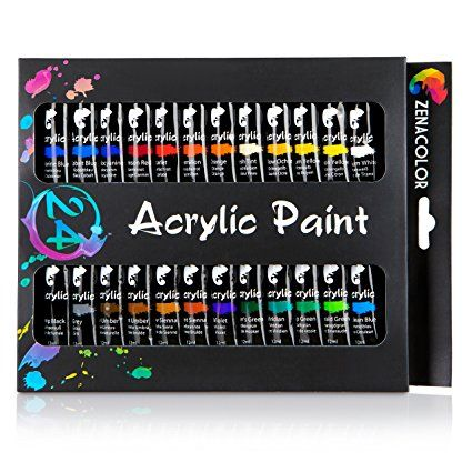 24 Tubes De Peinture Acrylique Zenacolor Pack De 24 X 12ml