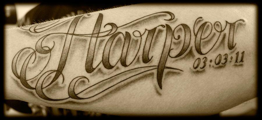 Inner Forearm Text Tattoos: Custom Lowrider Style Script Lettering Font Inner Arm
