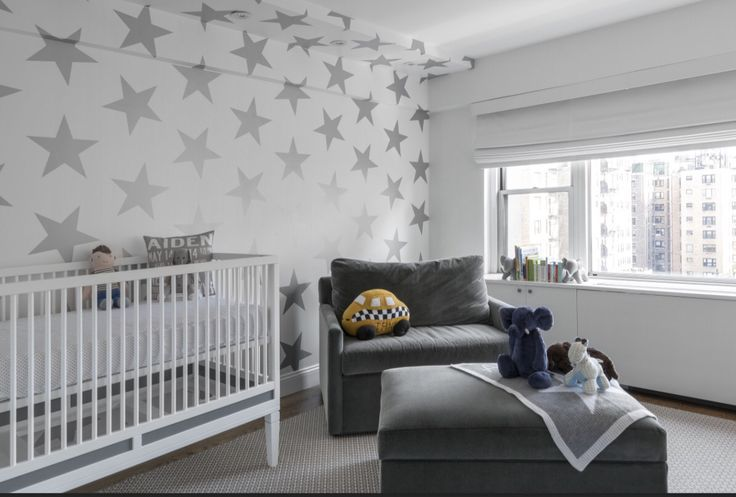 Gorgeous Modern Boys Nursery In Nyc With Silver Stars Wallpaper And Custom Charcoal Velvet Chair