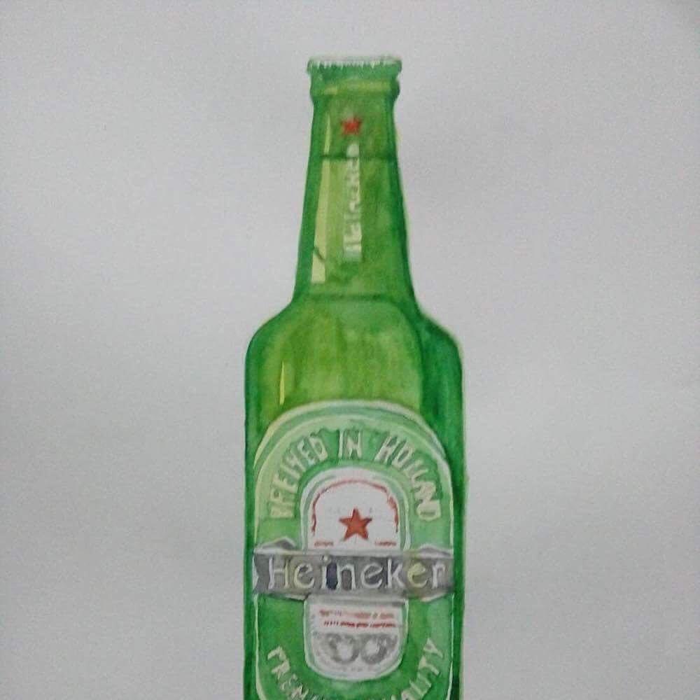 ผลงานนองอารท #studentwork #beer #heineken #watercolor ...