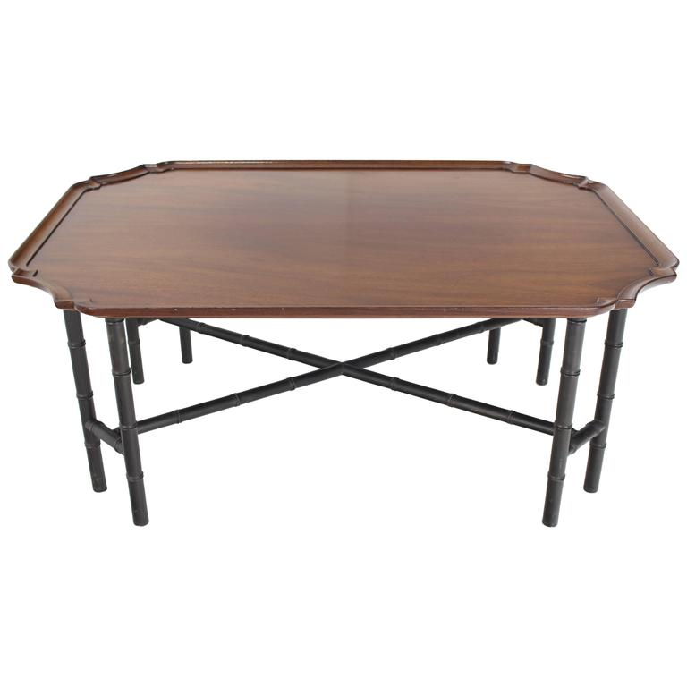 Kittinger Coffee Cocktail Table Faux Bamboo Tray Top Rectangle