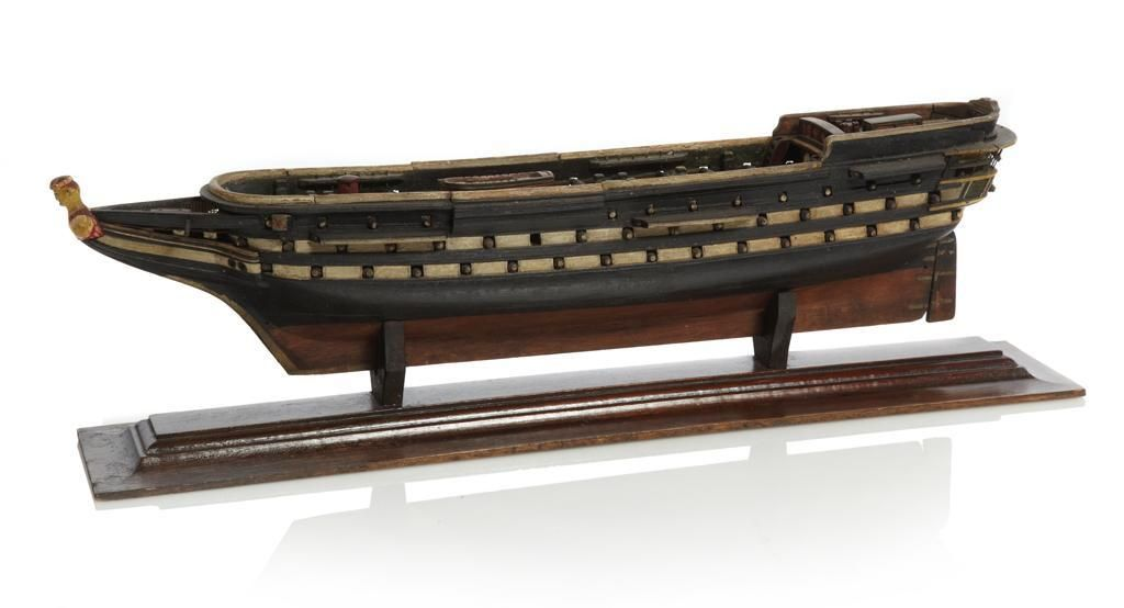 19th-century unrigged sailor's model of a 96-gun ship. The distinctive stern on this model suggests H.M.S. 'Asia' may have been its origin.