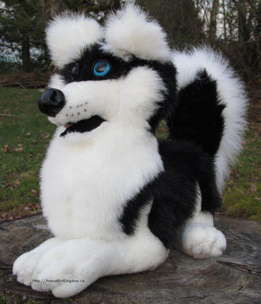 Laying Black Husky Dog Plush Stuffed Animal Toy Handmade