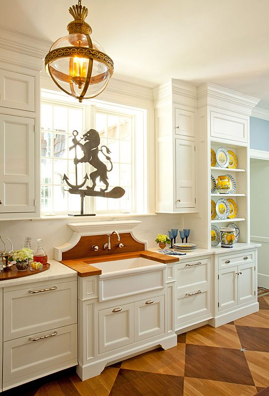 White kitchen by windham house amazing light fixture corezze wall mounted faucet luberon - Kitchen sink in french ...
