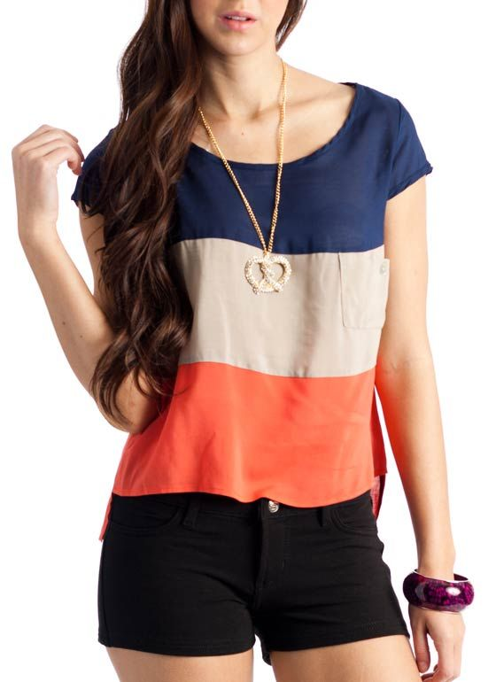 pocketed colorblock top $20.70