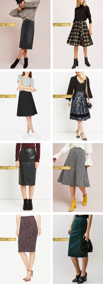 7b2781b94 These heavy-duty skirts will keep your legs warm all winter long. When it  comes to winter skirts, it's all about finding the right fabric.