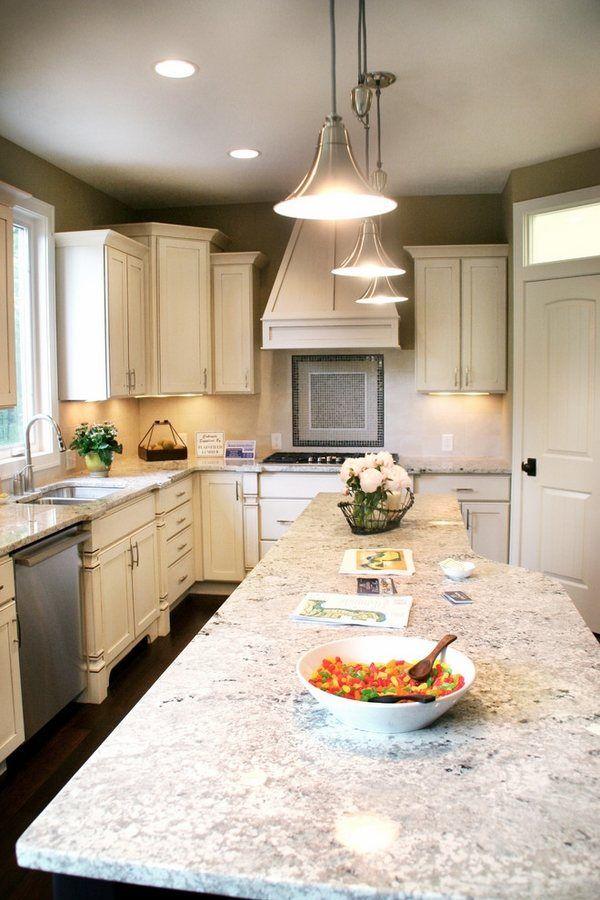 Modern Kitchen White Cabinets Bianco Romano Granite Countertops Kitchen  Island