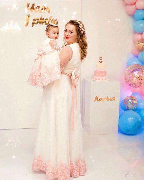 a189d95d15 Ivory mother daughter matching dresses mom and daughter matching dress mom  and baby pink lace dress