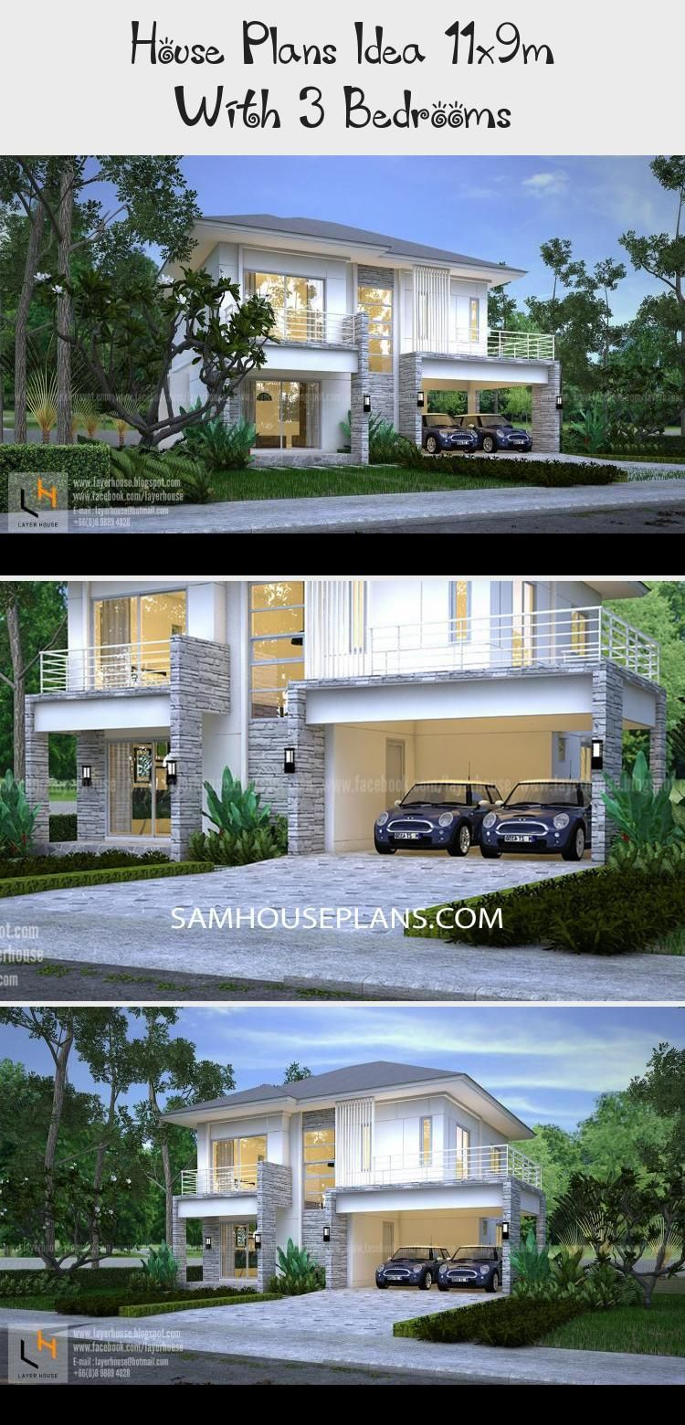 House Plans Idea 11x9m With 3 Bedrooms In 2020 House Plans Pool House Plans House