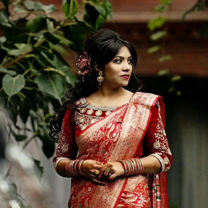 bb206064a26b9a Nepali bride wearing taas saree. #bride | Brides | Bridal lehenga ...