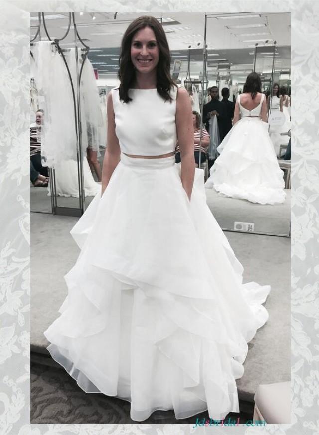 Unique white two pieces edgy bridal wedding gowns,satin bateau ...