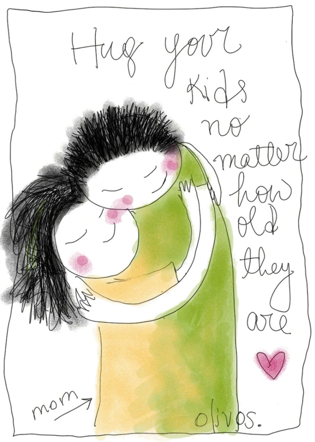 Mother and Son print - Doodle wall art - gifts for mothers ...