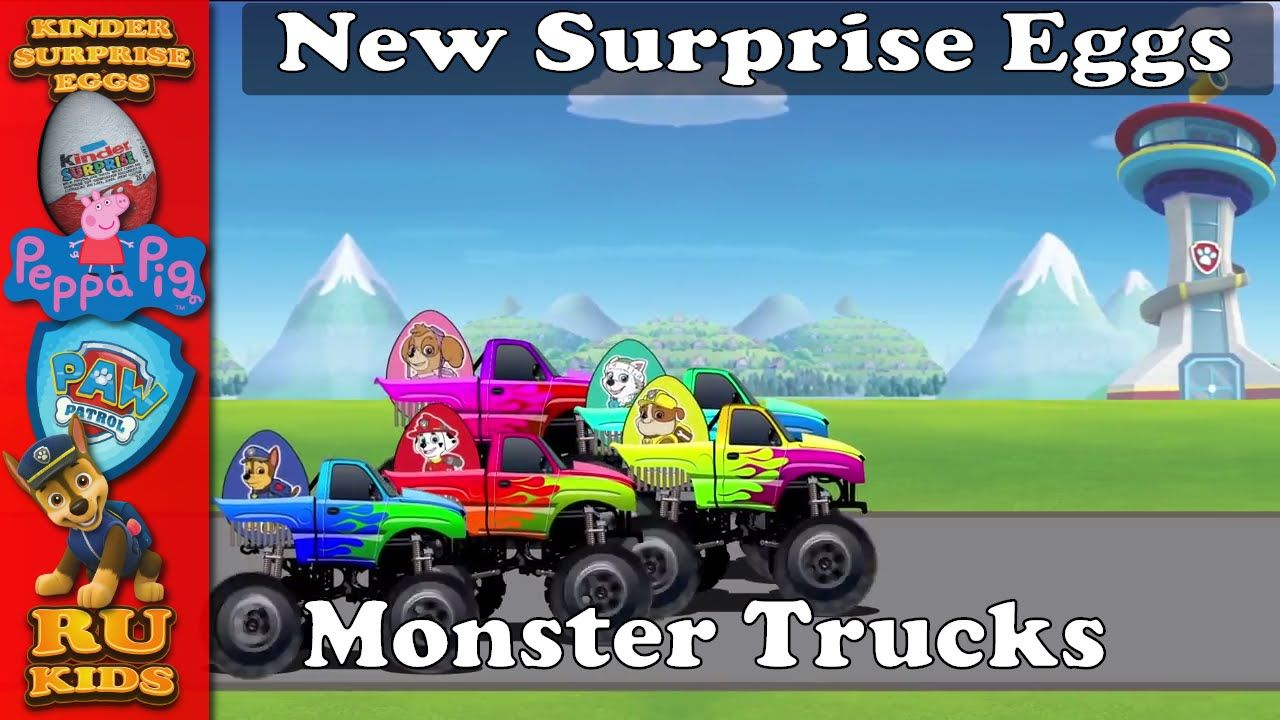 Paw Patrol Surprise Eggs Monster Trucks Race Suicide Squad Toys #Animation