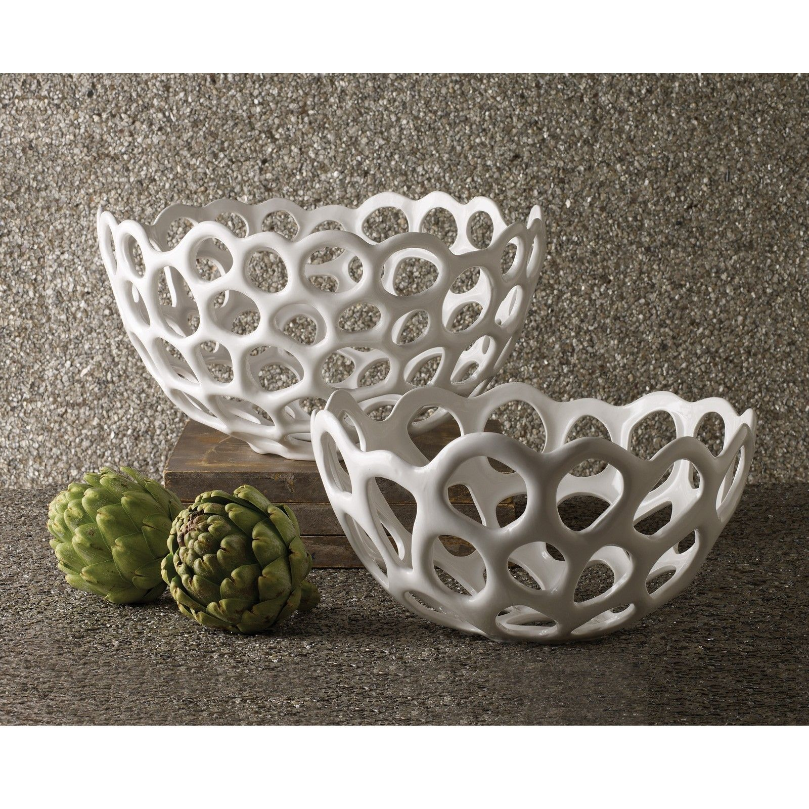 White Organic Design Bowl. Beautiful Fruit Filled Or Empty