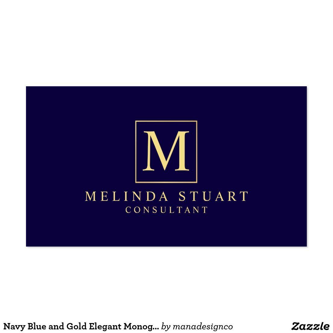 Navy Blue And Gold Elegant Monogram Business Card Template Perfect For A Makeup Artist Designe Luxury Business Cards Unique Business Cards Luxury Logo Design