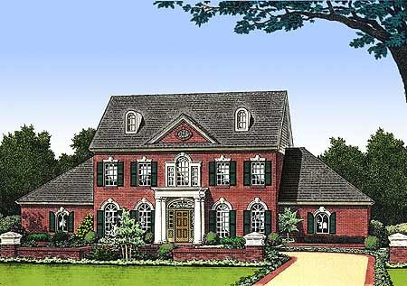 Gable roofs on side additions, make coulumns go to top of second story, bring out porch. Leave off dormer windows???